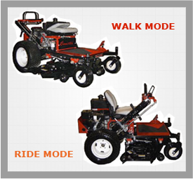 Convertible Mower showing ride and walk positions
